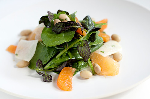 Spinach and Watercress Salad with Citrus, Jicama and Cranberry Beans