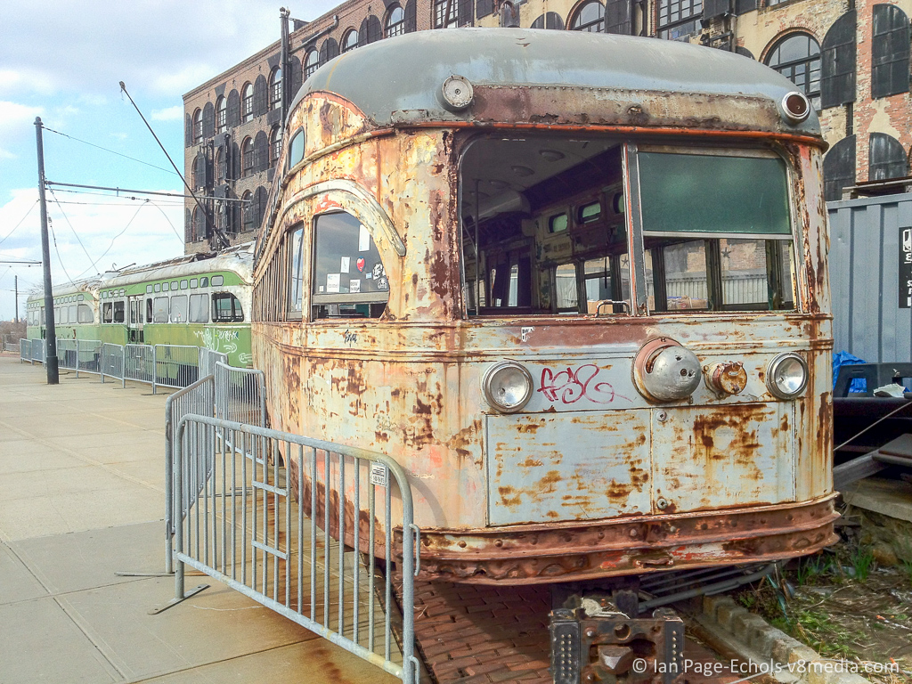 Old Subway Cars Near BWAC in Red Hook, Brooklyn, NYC
