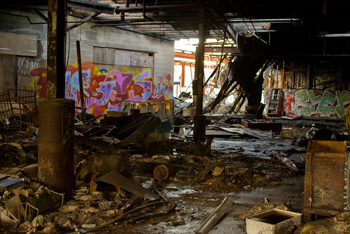 building graffiti site rust ruins nh hazardous burned collapsed delapidated tannery
