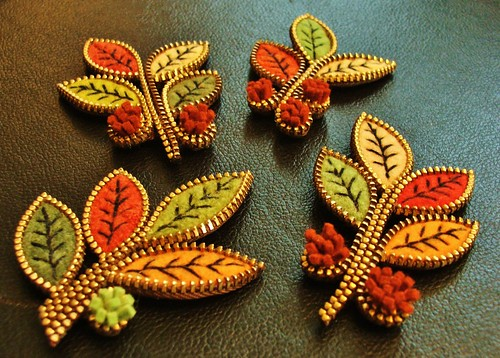 Felt and zipper leaf brooches