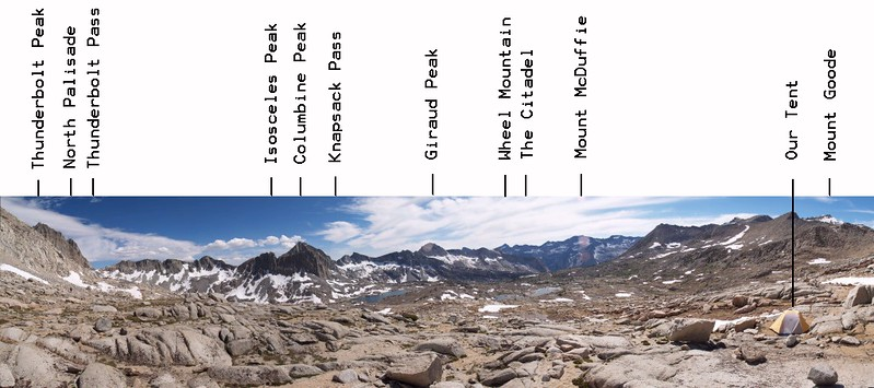 Dusy Basin annotated panorama from below Mount Agassiz