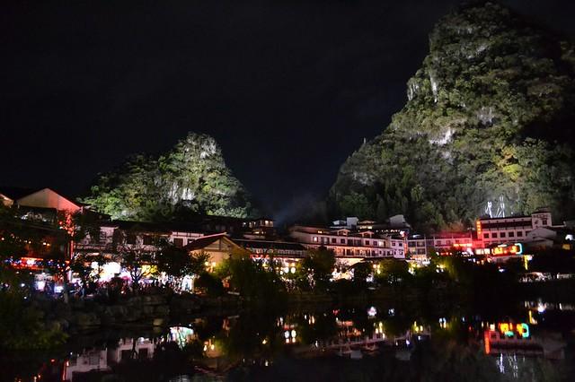 Yangshuo's town lake at night