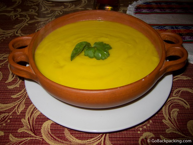 Pumpkin soup in Huaraz Peru