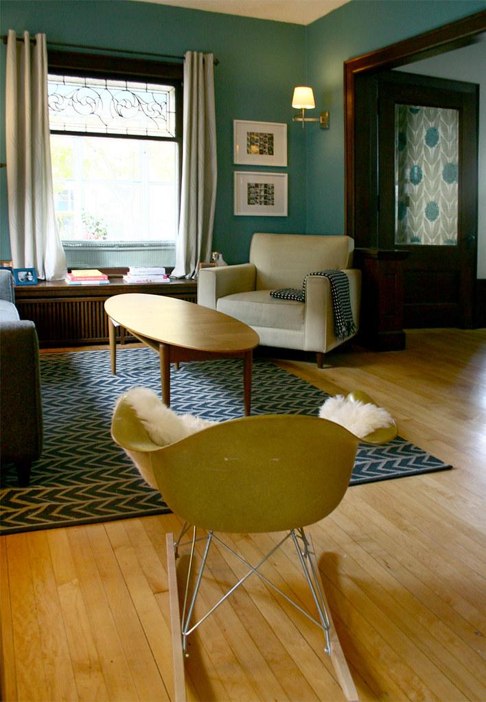 Teal Blue & Gray Living Room