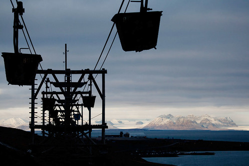 mountains industry silhouette norway norge high system svalbard arctic glaciers coal conveyor spitsbergen longyearbyen