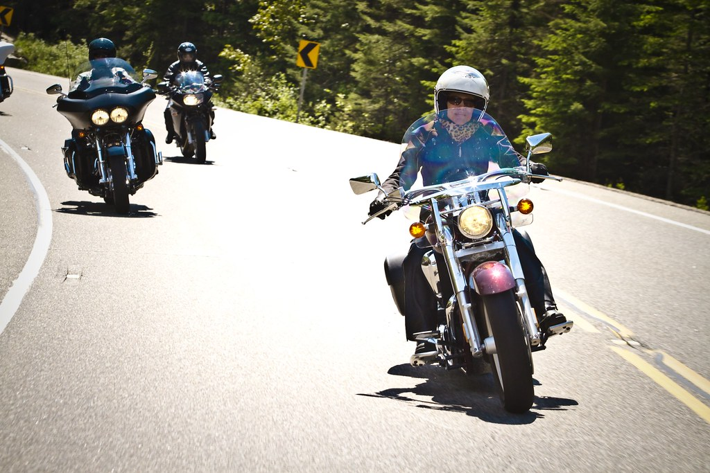 Motorcycle Riders on a sharp curve