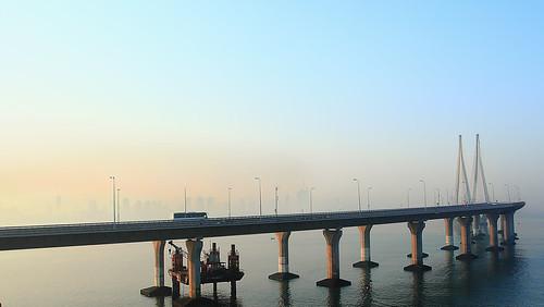 bridge blue sky orange sun india yellow skyline sunrise dawn metro landsend rise mumbai bandra worli sealink prabhadevi rajivgandhisealink