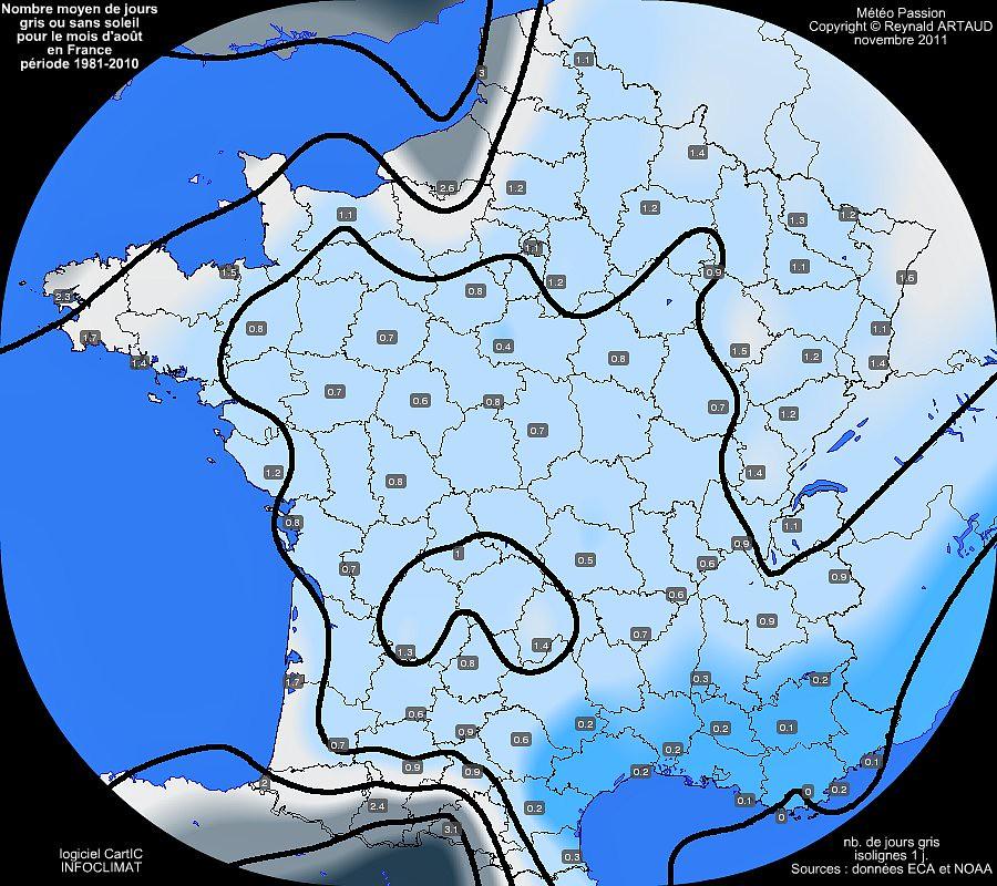 nombre moyen de jours gris ou sans soleil au mois d'août en France Reynald ARTAUD météopassion