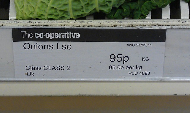 …with these onions, priced per kilogram. Can you work out which is cheapest?