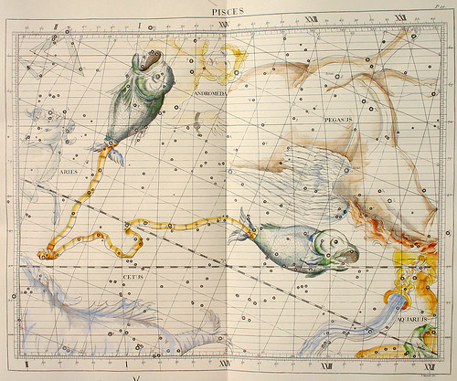 002-Piscis-Atlas Coelestis-coloreado a mano edicon de 1753 Londres-John Flamsteed