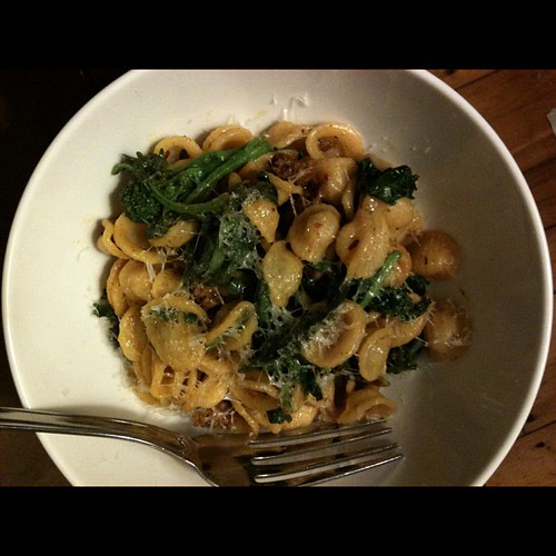 Pasta with sausage and broccoli rabe. Probably one of my favorite quick dinners.
