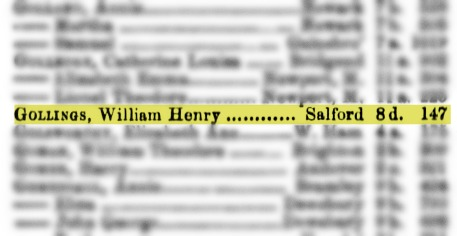 William Henry Gollings marriage