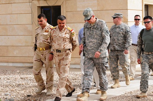 Major General Eddy Spurgin conducts key leader engagements with Iraqi military senior leaders in southern Iraq.