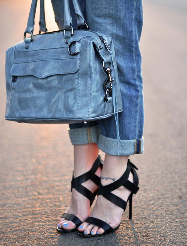 Rebecca Minkoff MAB bag -  strappy sandals-cuffed jeans