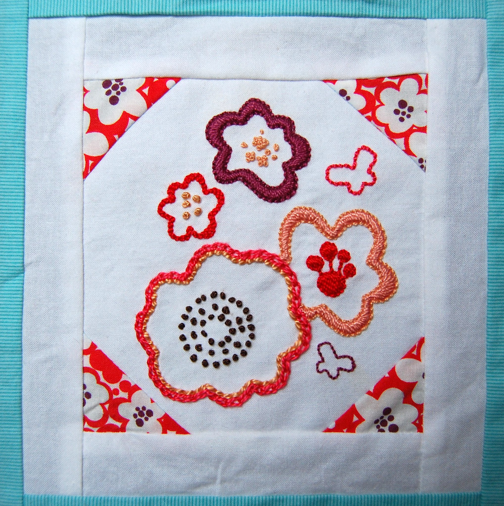 Embroidered block
