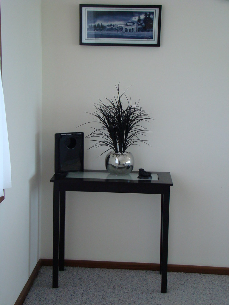 RESERVED by Bernie - console/hall  table (small) - black with frosted glass insert $30 - 1 available