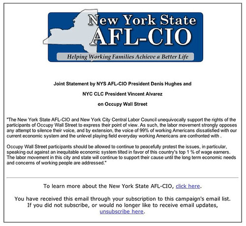 AFL-CIO supports We Are the 99%