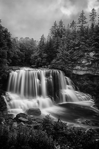 morning blackandwhite water fog sunrise dawn waterfall rocks westvirginia blackwater hdr 123bw