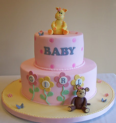 Baby Shower cake - baby giraffe and baby monkey