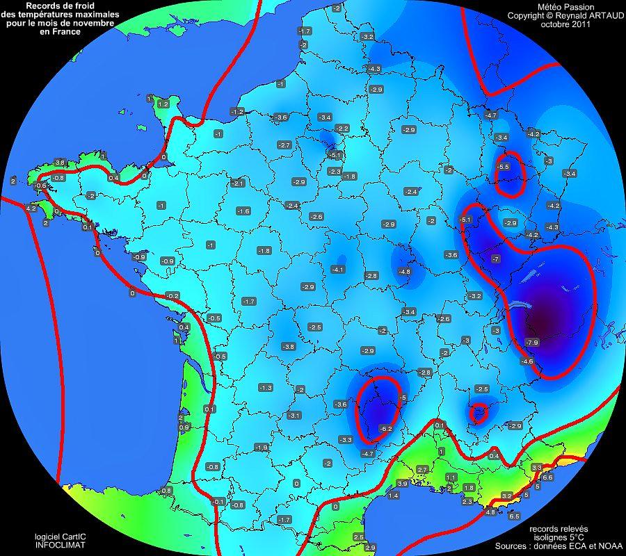 records de froid des températures maximales pour le mois de novembre en France Reynald ARTAUD météopassion