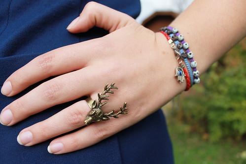skull bracelets, hand-of-Fatima bracelet, Target stag cocktail ring