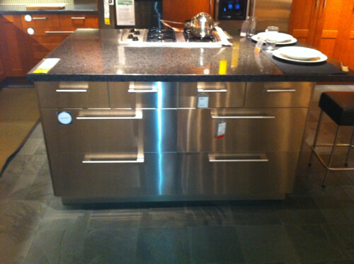 cjinteriors posted a photo:	This is a great industrial look for a modern kitchen island.  Shown in stainless steel