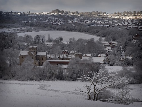 Saint Cross Church and Hospital from St Catherine's hill