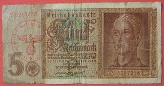GERMANY 1942 SERIES 5 REICHSMARK PAPER BILL WITH WAFFEN SS RED INK STAMP side A