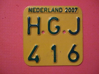 NETHERLANDS 2007 ---SCOOTER PLATE #HGJ416