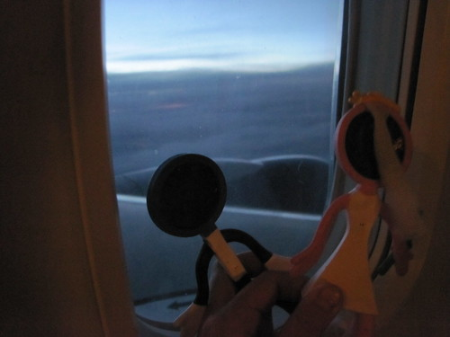 Our cake toppers looking out the window on the way home