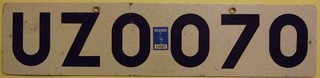 UGANDA c.1990 ---FORIEGN AGENCIES LICENSE PLATE ---UZO PREFIX