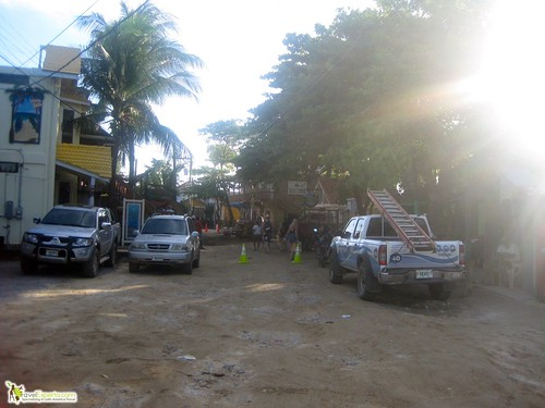 Traffic on Main Dirt Road of West end Roatan Honduras