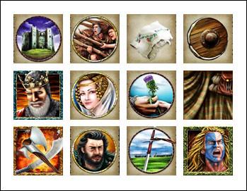 free Braveheart slot game symbols