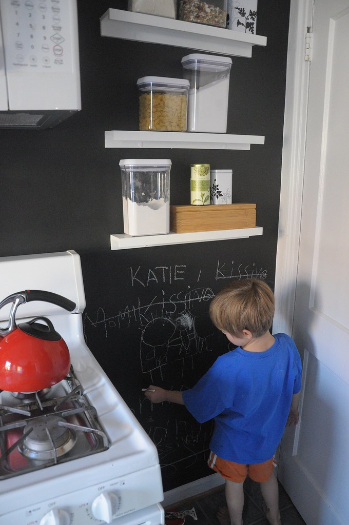 chalkboard paint wall in kitchen
