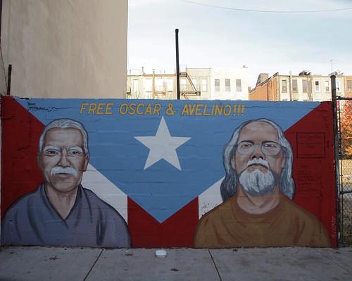FREE OSCAR AND AVELINO Mural, East Harlem, New York City