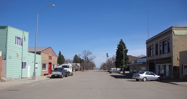 Downtown Minnewaukan, North Dakota