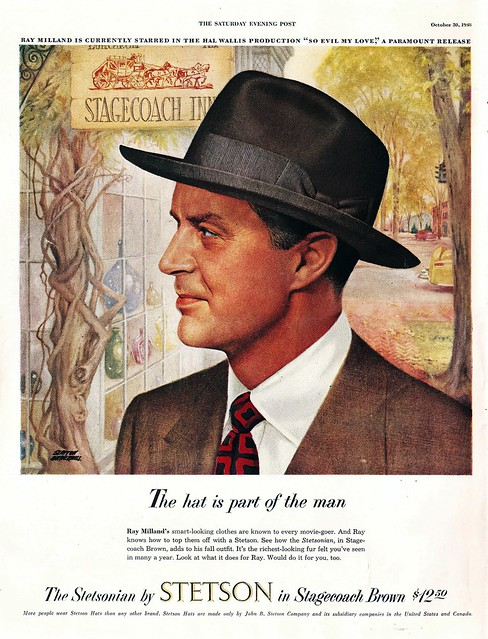 Ray Milland for Stetson Hats, 1948.