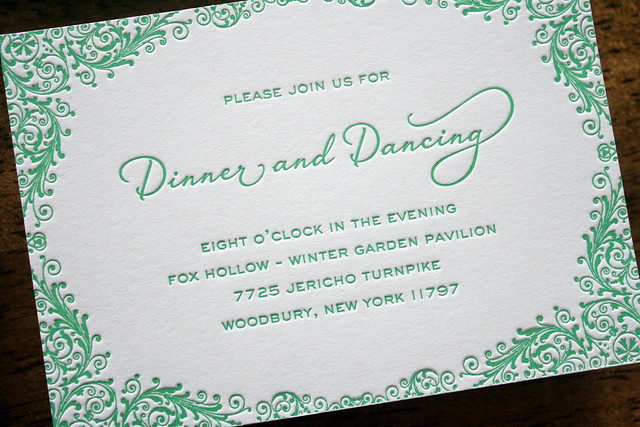 Preppy Elegant Letterpress Wedding Invitations