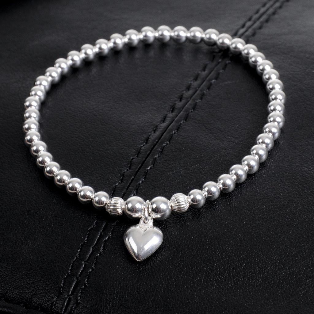 sterling silver heart charm bracelets sterling silver. Black Bedroom Furniture Sets. Home Design Ideas