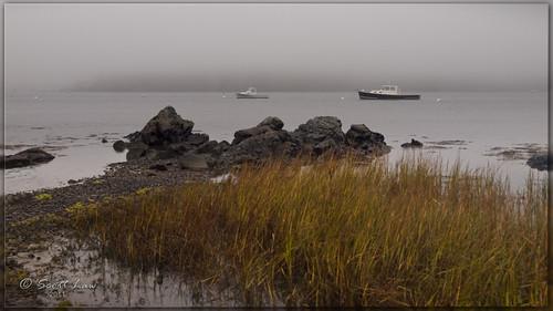sea usa mist rain fog boats island newhampshire portsmouth
