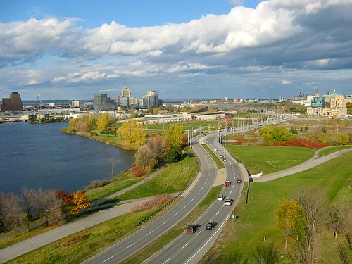 Aerial view of the city of Ottawa skyline and Gatineau on the left. - Kite Aerial Photography