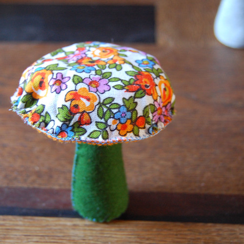 fabric and felt mushroom decorations