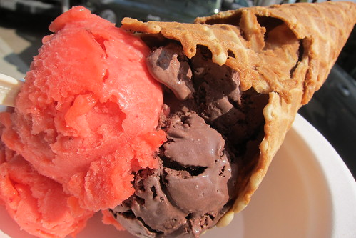 Mother Moo Creamery: Strawberry Sorbet + Salted Caramel in a Waffle Cone