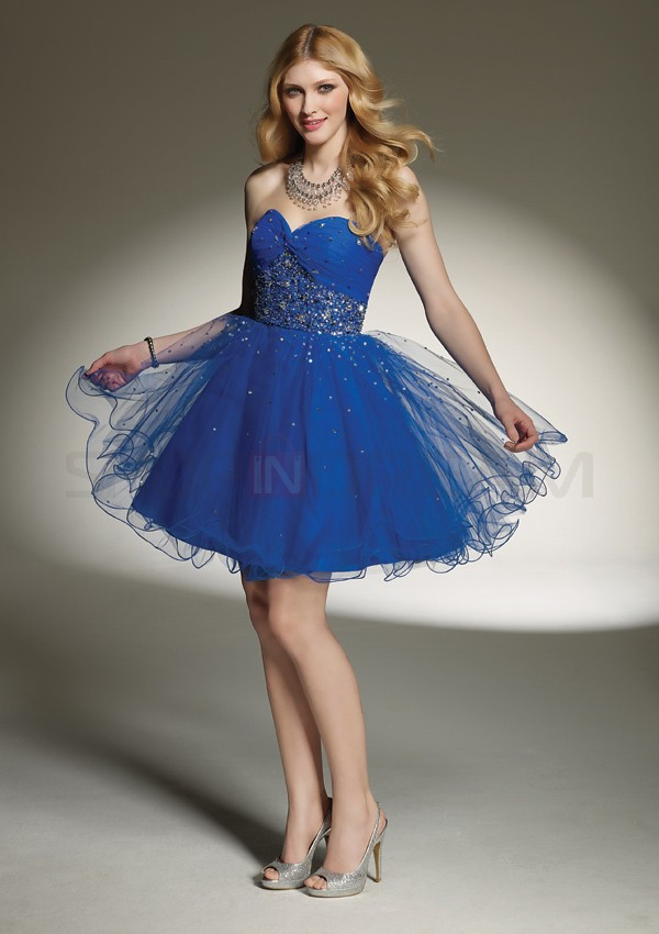 A-line-sweetheart-beading-draped-organza-short-royal-blue-party-dress
