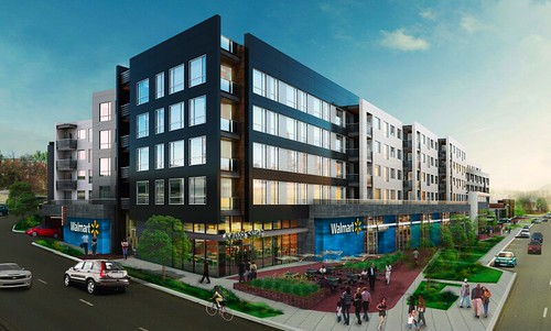 Mixed use Walmart, rendering, Fort Totten Square, DC