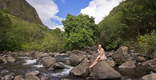 creek in Iao Valley, Maui, Hawai'i (panorama)