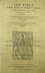 The first Bible printed in Scotland, A Geneva Bible often known as the 'Bassandyne Bible'. Euing Du-i.4