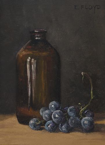 Still Life with Concord Grapes & Brown Bottle