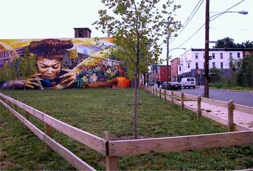 vacant lot in Philadelphia greened by the PA Horticultural Society (by: PA Horticultural Society via Feceral Reserve Bank of Philadelphia)