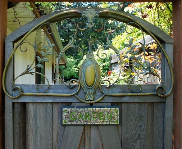Garden sign by nutmeg designs on a magical garden gate for Small garden gate designs